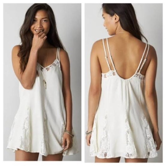 American Eagle Outfitters Ivory Lace Mini Dress